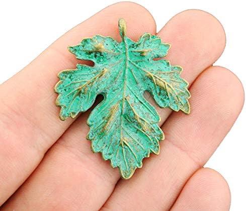G9327 Leaf Pendant Blue Patina Pendants Antique Blue Pendants 66x41mm Faux Patina over Antique Bronze Tone