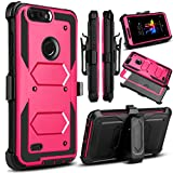 ZTE Blade Z Max Case, ZMax Pro 2 Case, ZTE Sequoia Case, Venoro Heavy Duty Shockproof Full Body Protection Rugged Hybrid Case Cover with Swivel Belt Clip and Kickstand for ZTE Z982 (Rose)