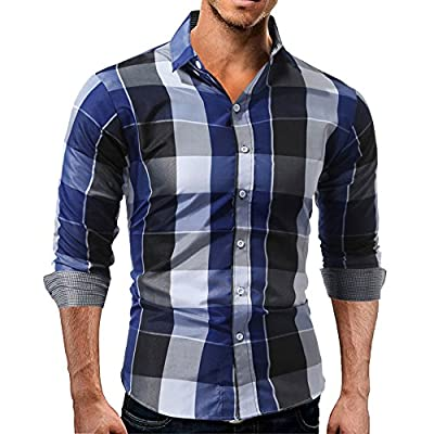 KASAAS Shirts for Men Plaid Button Down V-Neck Tartan Long Sleeve Fastener Slim Fit Casual Tops Blouse