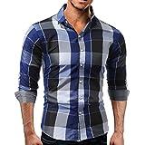 Hot Clearance Sale!Realdo Autumn Winter Mens Daily Long Sleeved Plaid Shirt Sweatshirts Top(Large,Blue)