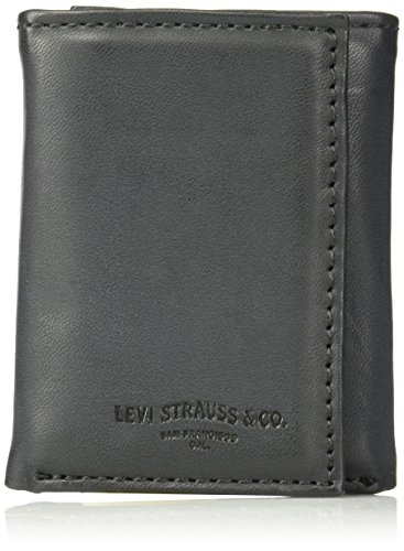 Levi's Men's Genuine Leather Trifold - Big Skinny Wallet with RFID Security for Credit Cards with 2 ID Windows,Black Trifold Wallet