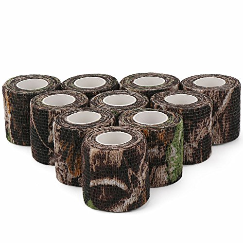 DROK Camouflage Tape, 10 Roll 2 Inches 4.92 Yards 14.76 Feets Self-Adhesive Protective Non-Woven Fabric Stealth Duct Tape Cling Scope Wrap Military Camo Stretch Bandage for Hunting Gun Rifle -