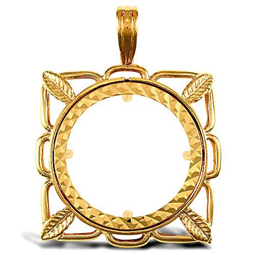Jewelco 9K cadre feuille or carré demi-monnaie souveraine pendentif monture