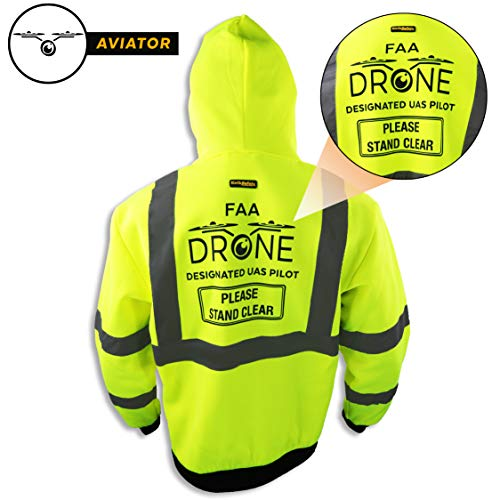 KwikSafety (Charlotte, NC) AVIATOR | Class 3 Fleece Drone Hoodie Premium (No Fuzz Balls or Lint) Durable Zipper Construction Work Wear Hi Vis Reflective ANSI Compliant OSHA Approved Safety Jacket XL