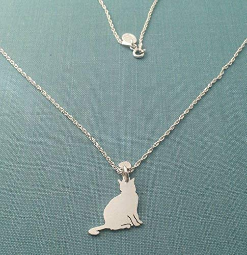 Sterling Silver Cat silhouette charm Necklace Pet Lover jewelry