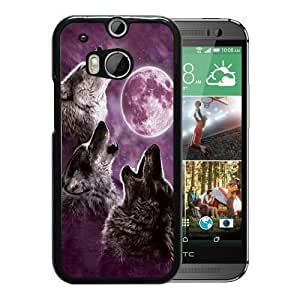 Popular Custom Designed Cover Case With 3 wolf moon Black For HTC ONE M8 Phone Case