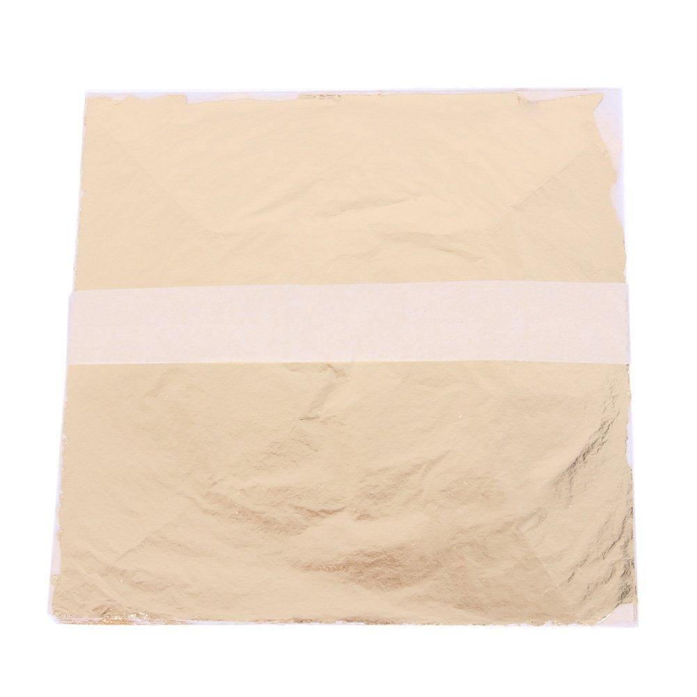 WinnerEco 100pcs Gold Sliver and Copper Leaf Leaves Sheets Foil for Gilding Decor (Silver)