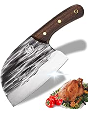 Forged Meat Cleaver Serbian Chefs Knife Vegetable Cleaver Knife Bone Breaker 6 inch HC Stainless Steel Chinese Chef Knife for Meat Cutting Wengewood Handle Best Gift for Home Kitchen and Restaurants