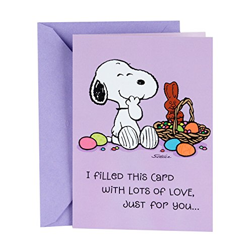 Hallmark Funny Peanuts Easter Card for Kids (Snoopy Easter Basket Candy Joke)