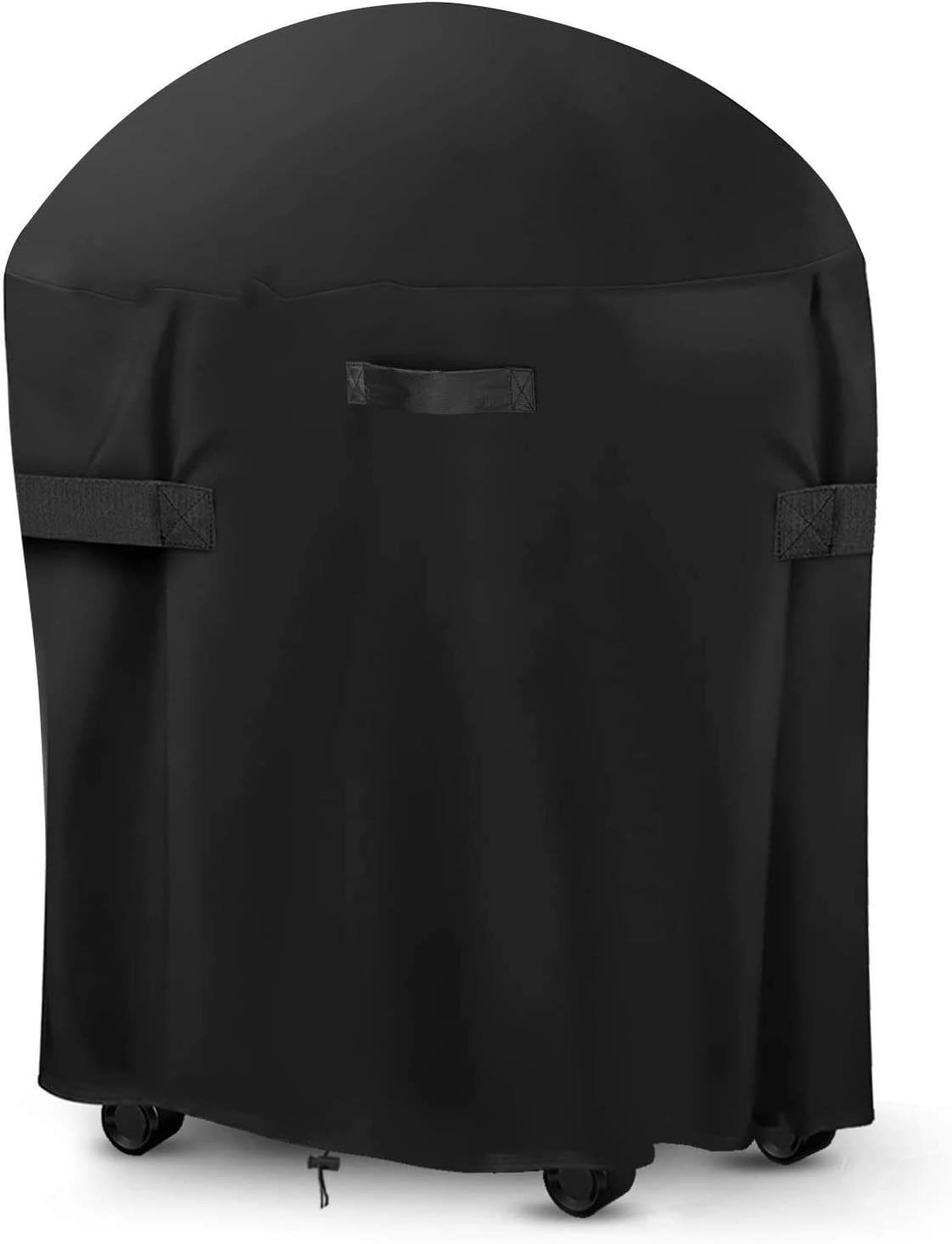 LEMI 30-inch Round Smoker Cover, BBQ Grill Cover Kamado Cover Barrel Cover Fit for Smoker Grills Charcoal Grills Kamado Grills Gas Grills Vertical Fire Pit Barrel, UV Dust Water Resistant, Black