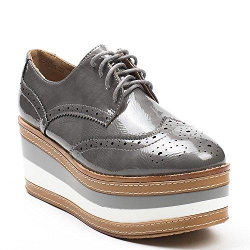 Ideal Shoes, Damen Schnürhalbschuhe Grau