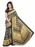 Muta Fashion Bhagalpuri Printed Ethnic Women Saree (Black & Gold)