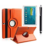 Boriyuan Tab S 10.5 Case, Portable Protective Ultra Slim Folding PU Leather Case Folio Flip Cover for Samsung Galaxy Tab S 10.5 inch Tablet SM-T800/T805 with Elastic Strap Latch and Multi-angle 360 Degree Rotating Stand Holder with a Free Stylus Touch Pen and a Screen Protector (Orange)