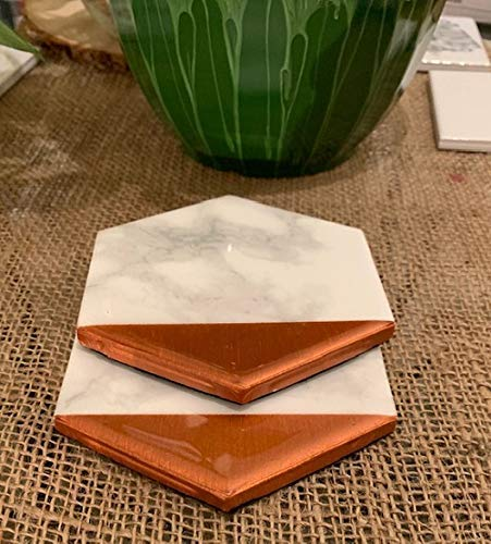 Everyday Gift Metallic Decor Birthday Gift for coworker Marble Office Desk Decor Housewarming Marble Decor Drinks Station Accessory Marble and Copper Dipped Coasters Set of 2