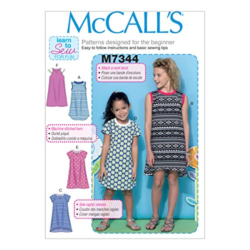 McCall's Patterns M7344 Children's/Girls' Raglan Sleeve Knit Dresses, Size CHJ ()