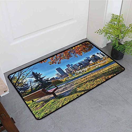 ONECUTE Bath mat,City Park Bench Overlooking The Skyline of Calgary Alberta During Autumn Tranquil Urban,Easy Clean Rugs,24