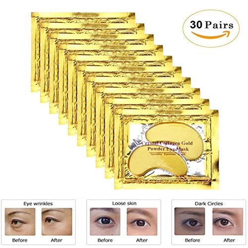 24K Gold Eye Pads 30 Pairs Crystal Gel Collagen Eye Mask For Anti-Aging & Moisturizing, Reducing Dark Circles, Puffiness