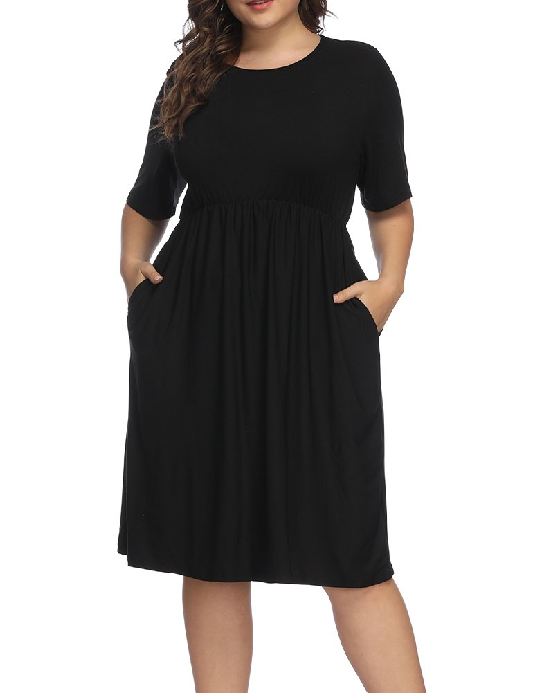 Allegrace Women Plus Size Half Sleeve Round Neck Cocktail Midi Dress Ruffle Party Dresses Black 2X