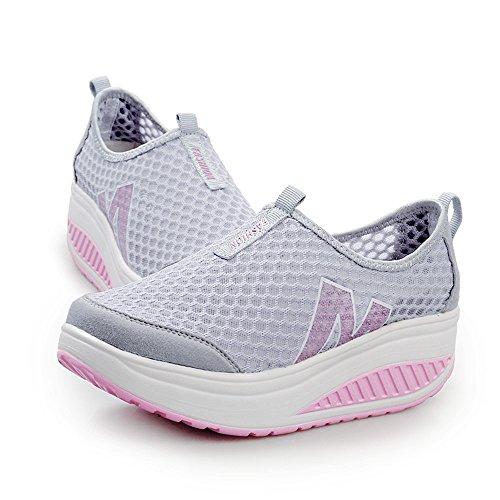 Gris Casual Plataforma Acoplamiento Transpirables Sneakers Zapatos Logobeing 34 41 Zapatillas Andar Mujer De Malla Deporte 6USXq