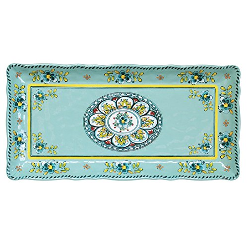 """Le Cadeaux 297MADT 10"""" X 5"""" Biscuit Tray Madrid Turquoise, 10 Inches,"""