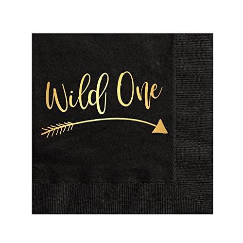 (Wild One with Arrow Napkins, Cocktail Napkins, Beverage Napkins, Kids Birthday Party Napkins, Gold Foil, Wild One, Black and Gold Napkins, Set of 25, Wild One, Tribal Party Decor, Wild One Party Decor)