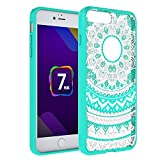 iPhone 7 Plus [5.5] Case - Anwish Mint Mandala Totem Series Hybrid Protective Case with Soft TPU Bumper +Hard Back Cover [Scratch Resistant] Cover Case for iPhone 7 Plus