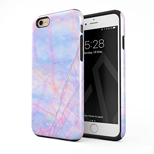 134 Cover Cotton (BURGA Compatible with iPhone 6 Plus iPhone 6s Plus Case Cotton Candy Marble Holographic Iridescent Colorful Unicorn Marble Heavy Duty Shockproof Dual Layer Hard Shell + Silicone Protective Cover)