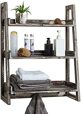 Amazon Com Mygift 3 Tier Torched Wood Wall Mounted Cascading Ladder Shelves With 3 Peg Hooks Home Kitchen