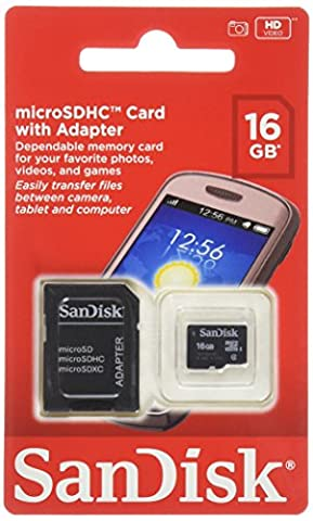 SanDisk 16GB Mobile MicroSDHC Class 4 Flash Memory Card With Adapter- SDSDQM-016G-B35A (Microsd Adapter Card)