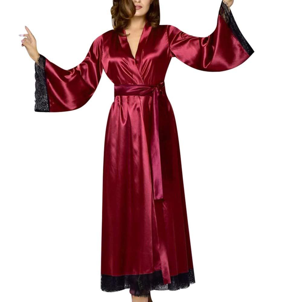 Gibobby Night Dress for Women Pure Color Lace Satin Kimono Long Robe Silk Bridal Bridesmaid Robe Sleepwear Wine