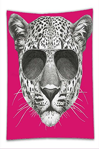 Nalahome Fleece Throw Blanket Modern Hipster Leopard with Aviators Sunglasses Portrait Cool Wild Animal Illustration Magenta - Adventures Aviator Wild