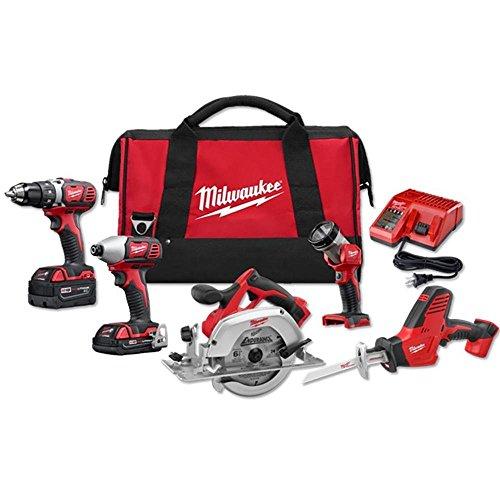 Milwaukee 2695-25CX M18 Lithium-Ion Cordless Combo Kit, 5-Tool, 18-Volt (Milwaukee Power Tool Set)