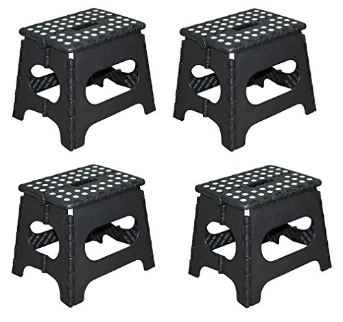 (Jeronic yqgQxV 11-Inch Plastic Folding Step Stool, Black (4 Units))