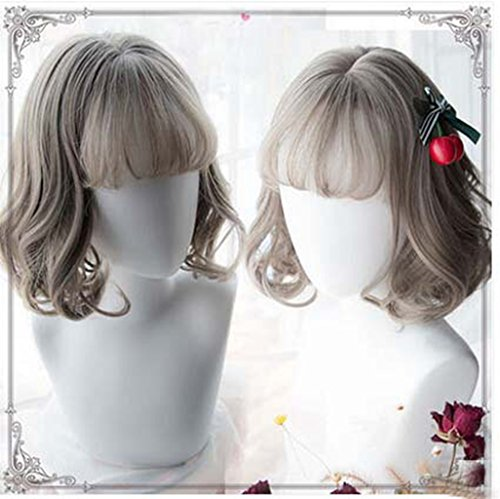 [Jooyi Fashion Lolita Grey Bob Wigs Cosplay /Party Costume Wig for Women Natural As Real Hair+A Free Wig] (Lavender Marie Antoinette Wig)