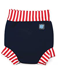 Happy Nappy HNNRSM Baby and Toddler Reusable Swim Diaper, Navy Red Stripe, Medium 3-8 Months