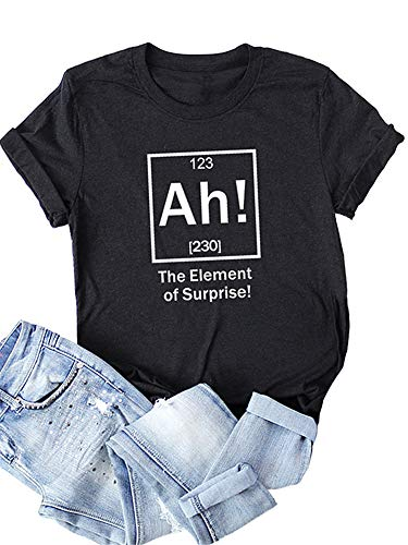Festnight Women Funny T-Shirt The Element of Surprise Letter Print Short Sleeves Blouse O Neck Plus Size Tees Tops Black