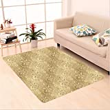 Nalahome Custom carpet sk Patterns Weaving Byzantine Islamic Antique Lace Floral Motifs Nostalgic Retro Chic Deco Beige area rugs for Living Dining Room Bedroom Hallway Office Carpet (6' X 9')