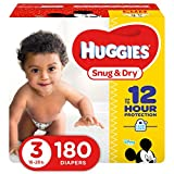 HUGGIES Snug & Dry Diapers, Size 3, 180 Count, GIANT PACK (Packaging May Vary)