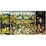 1art1® Set: Hieronymus Bosch, The Garden Of Earthly Delights, 1500, 3 Parts Stretched Canvas Print (51x28 inches) + 1x Promotional Home Decor Item