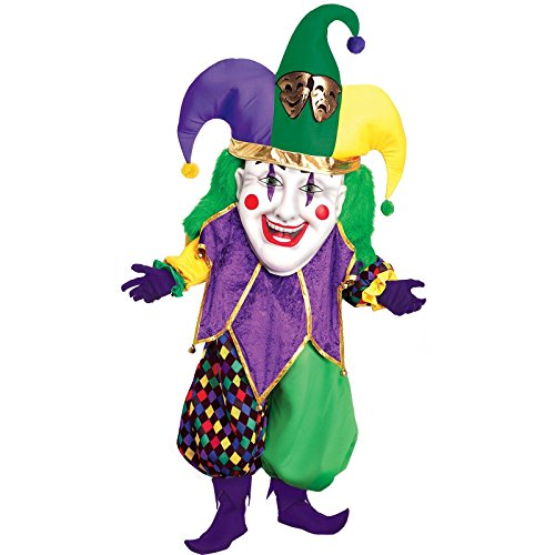 Forum Parade Pleasers Oversized Mardi Gras Jester Costume, Green/Gold/Purple, Adult
