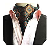 MENDENG Men's Geometric Jacquard Woven 100% Silk Self Cravat Tie Formal Ascot