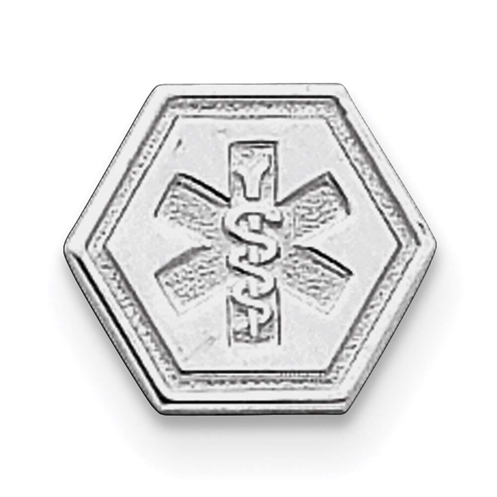 Lex /& Lu Sterling Silver Non-enameled Attachable Emblem Medical Charm LAL120420