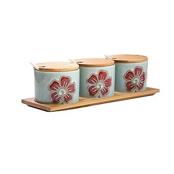 Kaiyu Cocina Cerámica Sartenes Tarro Sartén Caja de Sal Condimento Contenedor de Almacenamiento Condimento Jar Set 30x7cm (Color : A): Amazon.es: Hogar