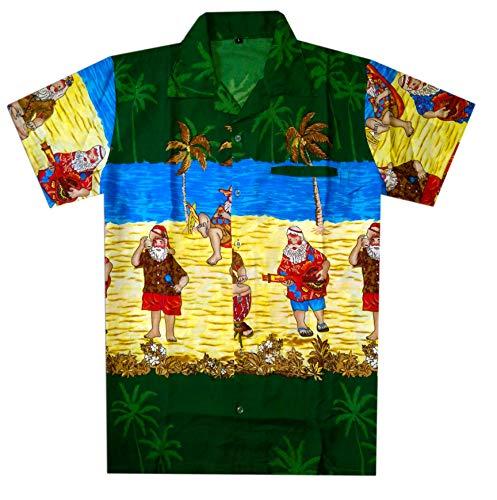 Virgin Crafts Christmas Hawaiian Shirt for Men Santa Claus Casual Party Beach Vacation Shirt -