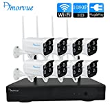 Amorvue 8CH 1080P Wireless Camera Security System (WIFI NVR KITS) with 8 PCS Outdoor/Indoor Waterproof Night Vision Wireless Camera (Without Hard Drive)