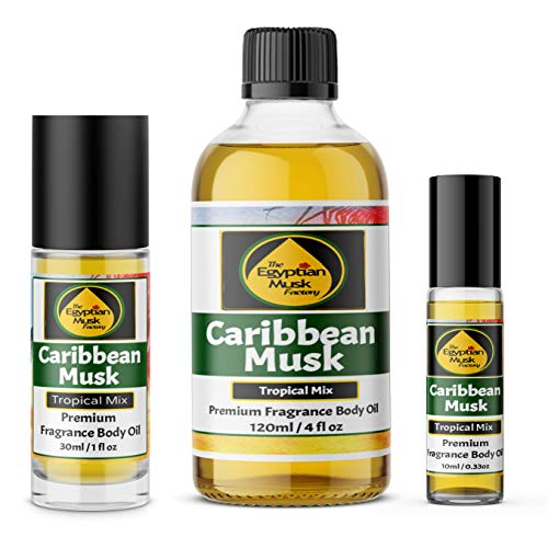 The Egyptian Musk Factory by WagsMarket - Caribbean Musk Perfume Oil for Men and Women, Choose from 0.33oz Roll On to 4oz Glass Bottle (1oz Roll -