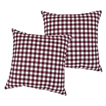 2 Piece 17x17 Red White Plaid Throw PIllow, Lodge Cabin Lake House Themed Pillows, Madras Tartan Lumberjack Rugby Striped Pattern Checkered Check Checker Hoirzontal Vertical Stripes Vintage, Cotton