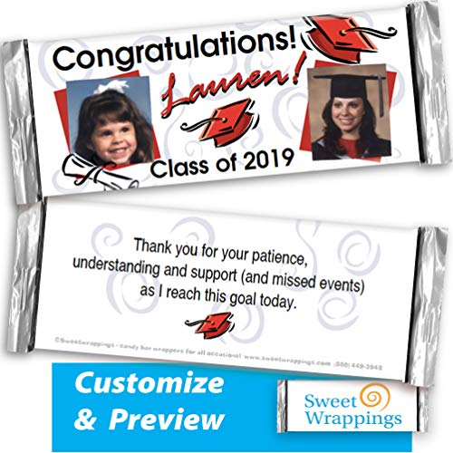 Personalized Candy Bar Wrappers | Graduation Portrait | Congratulation, Celebrating Graduation, Gift, Party Favor, - add Your Photo, Personalized(36 Wrapper Kit) - Fits Hershey's 1.55oz chocolate bar