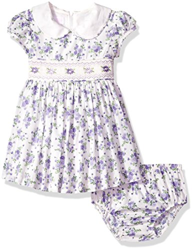 Bonnie Baby Baby Girls Smocked Waist Dress with Panty, Purple, 18M -