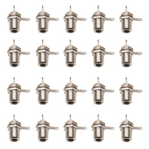 ZXHAO 9mm/0.35 inch Thread F-Type TV Female Jack Socket Nut Bulkhead Solder Cup Panel Mount Socket 20pcs